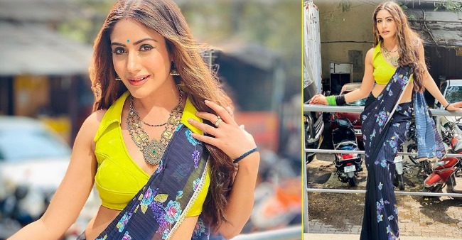 Naagin 5 actress Surbhi Chandna looks stunning in her neon and black saree look