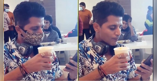 Karanvir Bohra's struggles with drinking coffee as he had his mask on