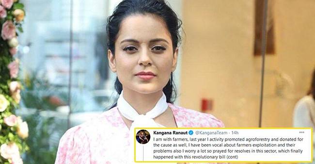 Kangana Shares A Statement On Farmers' Protests; Says 'Hope Peace Prevail In The Nation Again'