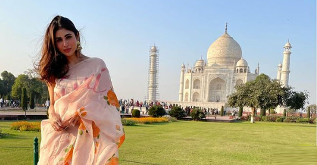 Mouni Radiates In Her Elegant Floral Saree As She Poses In Front Of Taj Mahal
