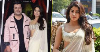 Roohi Promotions: Janhvi Serves Another Sensuous Look In Ivory Saree; Leaves Fans Hooked