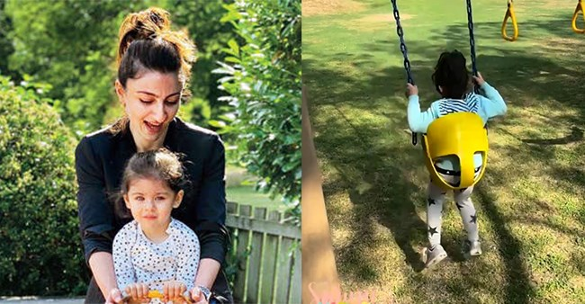 Soha Shares A Glimpse Of Inaaya, Enjoying The Swings At The Palace's Play Area