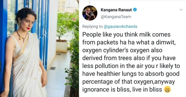 """Kangana Ranaut counter-attacks a tweet on her feed, says """"ignorance is bliss"""""""