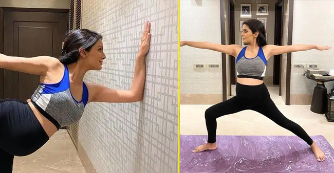 Preggers Geeta Basra Exhibits A Huge Baby Bump Doing Yoga; Suggests Expecting Moms To Practice It