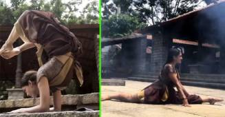 A Dancer's Perfect Split & Handstand In Well-draped Saree Amazes Netizens