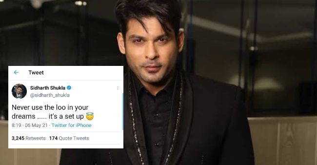 """Sidharth Shukla's recent tweet on his """"loo dream"""" makes netzines roll with laughter"""