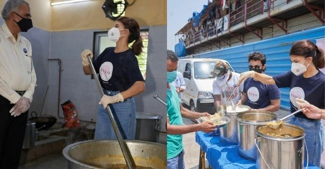 """Jacqueline Fernandez serves meals to people, quotes Mother Teresa: """"Peace begins when the hungry are fed"""""""
