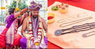 Husband and Wife exchanging 'MANGALSUTRA' at their wedding and breaking stereotypes