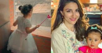 "Soha Ali Khan shares a cute video of daughter Inaaya dancing in a fluffy frock, calls it ""party for one"""