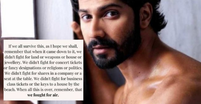 "'We fought for air,' Varun Dhawan pens down striking note on what to remember after pandemic says ""We are in this together"""
