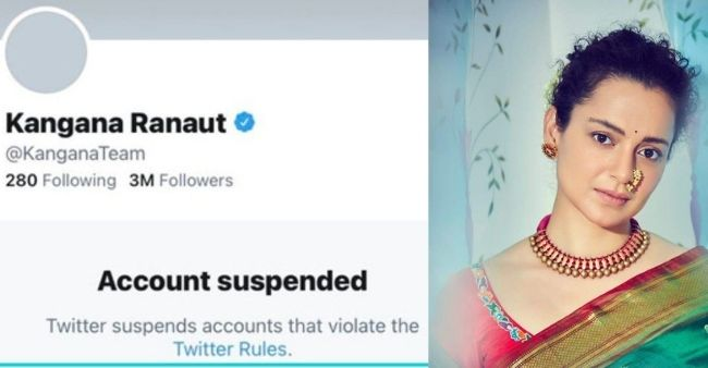 Kangana Ranaut's Twitter account suspended due to provocative tweets on West Bengal election