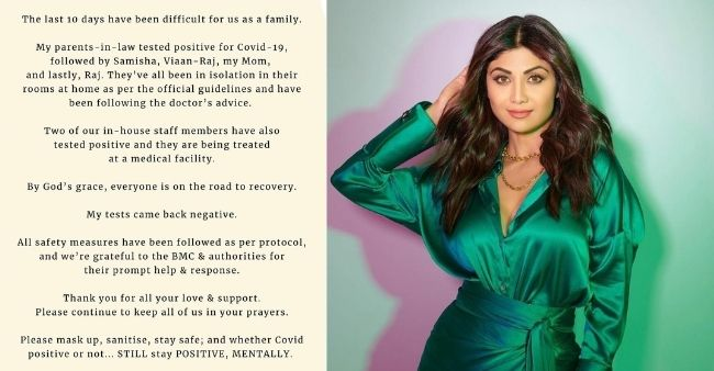 Shilpa Shetty's family tests positive for COVID-19, says they are recovering well