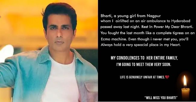 """""""You fought like a tigress,"""" Sonu Sood on demise of a COVID-19 patient he had airlifted"""