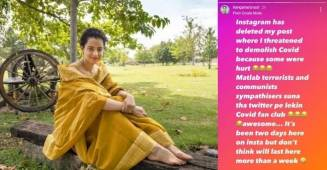 "Kangana Ranaut mocks ""COVID-19 fan club"" for reporting her post menacing to 'demolish COVID-19'"