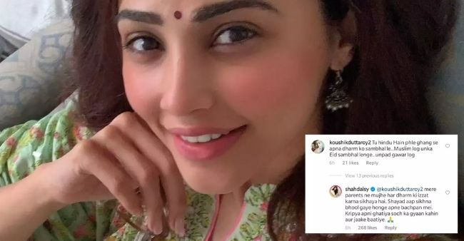 """Daisy Shah responds to a hateful comment on her Eid post by saying, """"My parents havetaught me to respect everyreligion"""""""