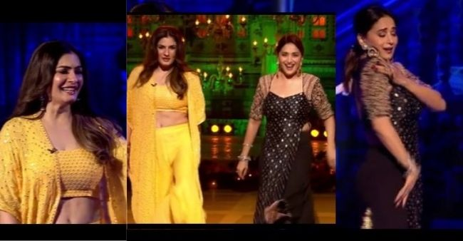 """Madhuri Dixit and Raveena Tandon's dance face-off to """"Tip Tip Barsa"""" and """"Dhak Dhak karne laga,"""" sets stage on fire"""