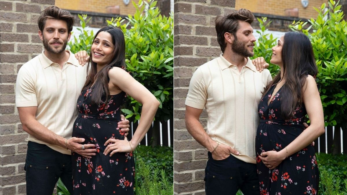 Freida Pinto shares picture announcing her first pregnancy with fiancé Cory Tran