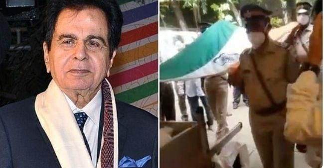 The legendary actor Dilip Kumar gets a accorded state funeral draped in 'beautiful Tricolor'