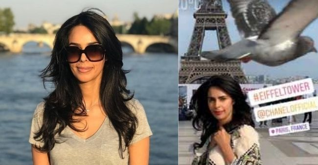 Mallika Sherawat's picture perfect moment before Eiffel Tower ruined by a bird!