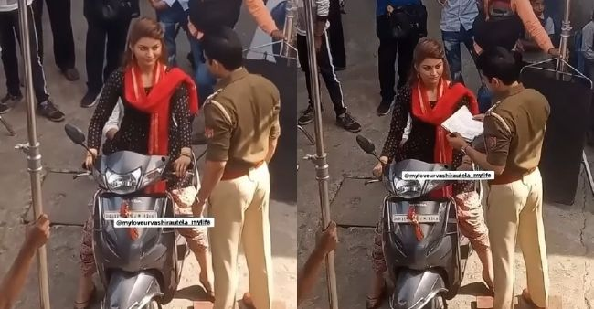 Urvashi Rautela drives a scooty without a helmet, video surfaces after police stopped her