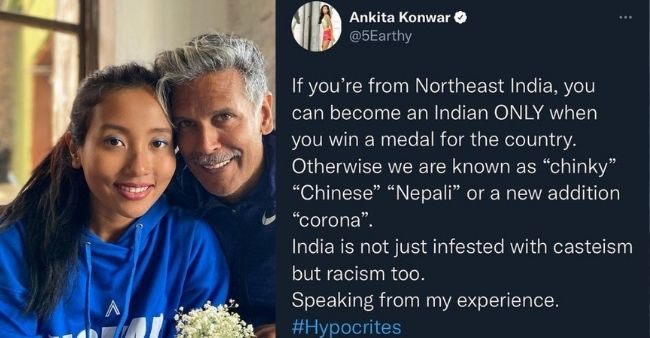 """""""North-Easterns could ONLY become Indian after winning Medals"""", says Milind Soman's wife Ankita Konwar, called people 'hypocrites'"""