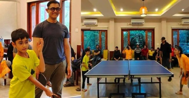 Aamir Khan spotted playing Table Tennis with son Azaad and ex wife Kiran Rao on the sets of 'Laal Singh Chaddha'
