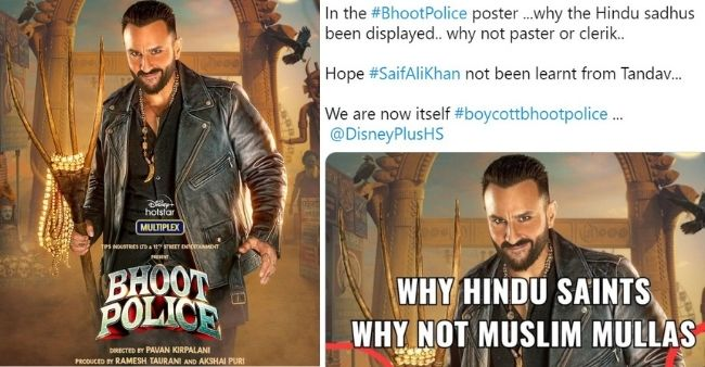 """Saif Ali Khan under controversy again for Bhoot Police, netizens questions """"Why Hindu Saints in background"""""""