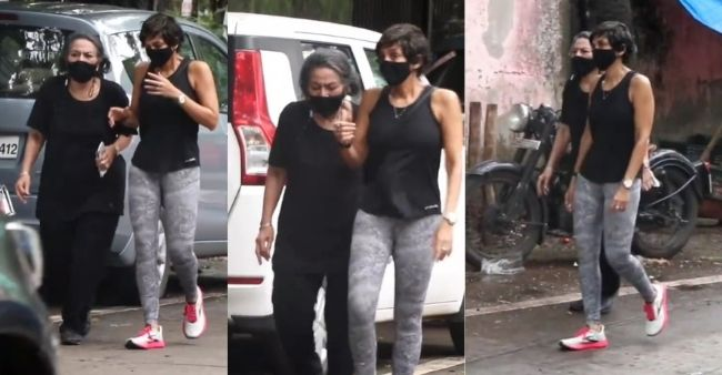 Mandira Bedi seen on her morning walk with mother first time after her husband Raj Kaushal's demise