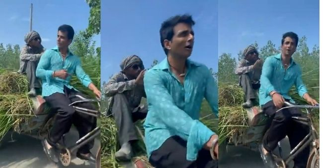 Sonu Sood posted a video of driving a rickshaw and negotiating with the milkman, promotes supporting small business