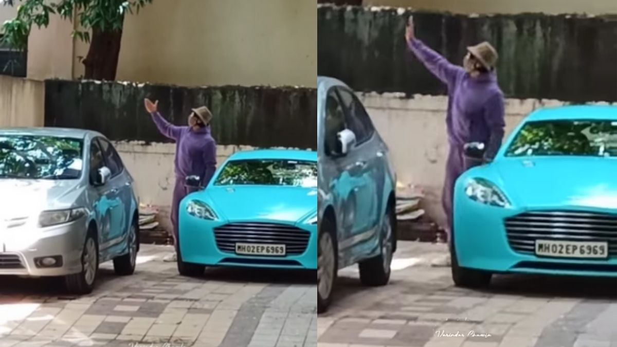 Ranveer Singh greets fans with 'flying kisses' rocking a purple outfit, drives away in his aqua blue Aston Martin car