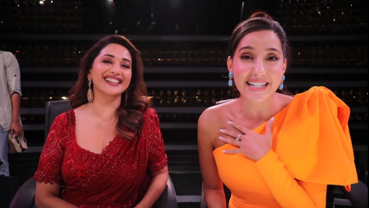 Nora Fatehi gets excited and fangirls over Madhuri Dixit on the stage of Dance Deewane