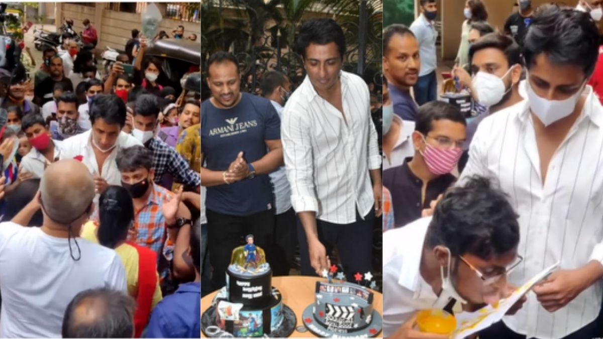 Fans flock to Sonu Sood's Mumbai hothe for his birthday, a fan makes love painting with his tongue