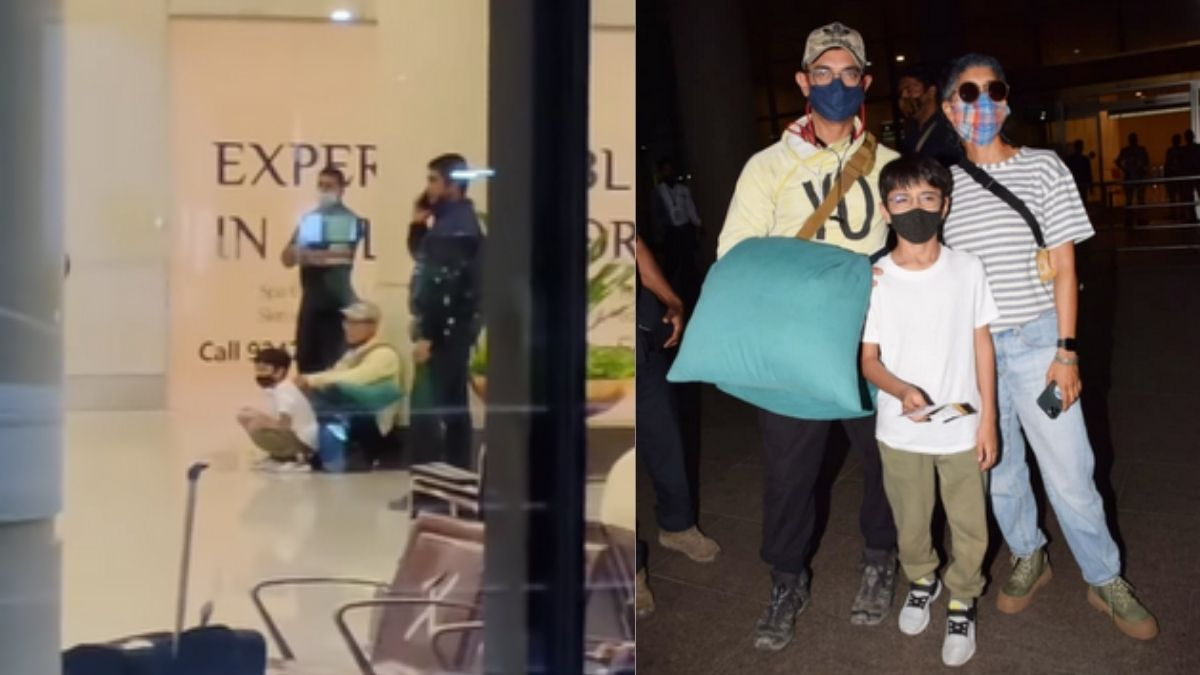 Aamir Khan and Kiran Rao with their son Azad posed as family at Mumbai Airport, netizens wonders why they were sitting on the floor