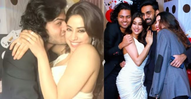 [Photos] Janhvi Kapoor receives kisses and hugs from rumoured ex Akshat as she partties with Khushi Kapoor