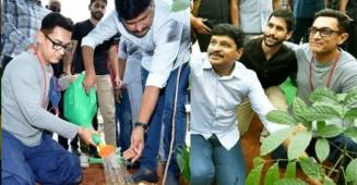 Aamir Khan participates in the Green India Challenge and plants trees